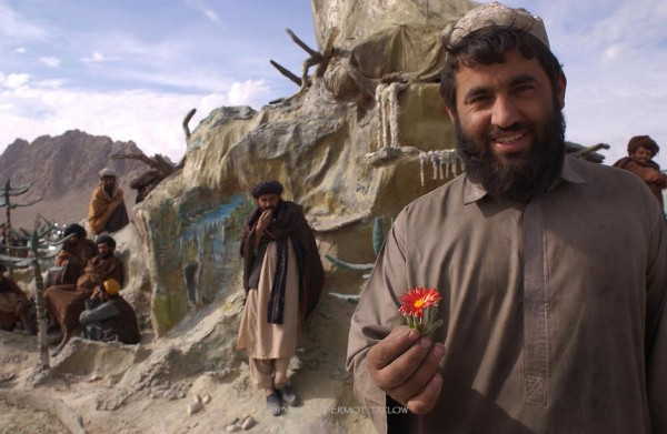 Anti-Taliban fighter in Mullah Omar's compound in Kandahar.